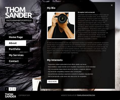 Free Full Js Website Template Photography Photography Template