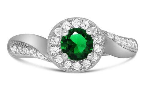 antique designer 1 carat emerald and diamond engagement