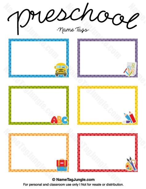 free classroom picture card templates printable printable preschool name tags