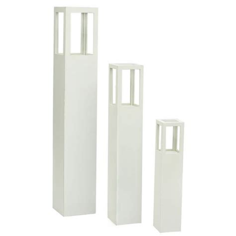 Wood And Glass Candle Holders 3pc Mdf Wood Glass Candle Holder Stands In White Buy