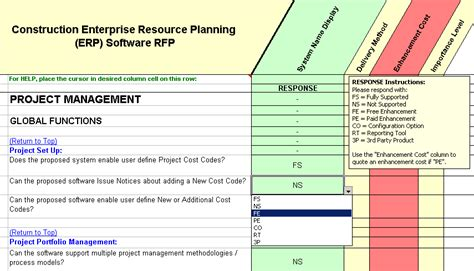 Software Evaluation Selection Construction Erp Rfp Template Erp Software Selection