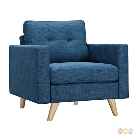 blue fabric armchair uma modern blue fabric button tufted armchair w natural