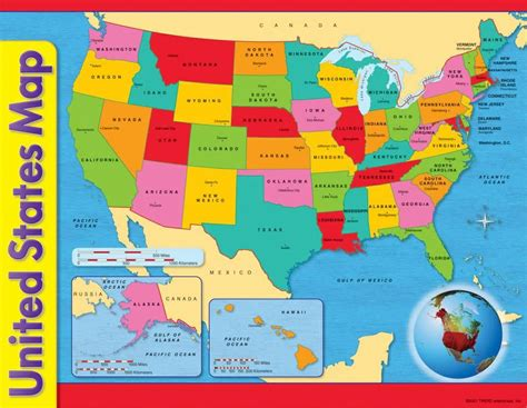 map of usa for kindergarten united states map learning chart preschool supplies