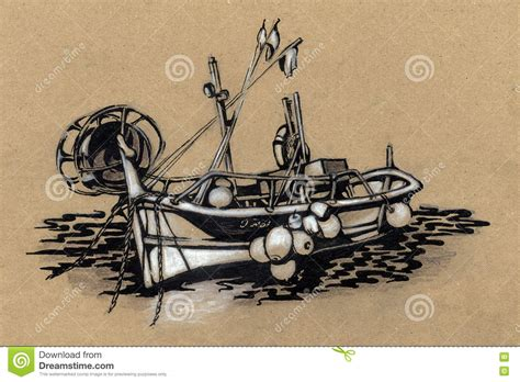 boat illustration drawing fishing boat drawing stock illustration image 77361386