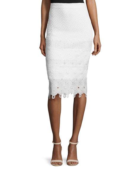 textured lace trim pencil skirt snow