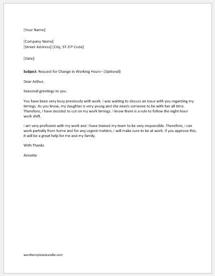 request letter to work on request letter to change working hours formal word templates