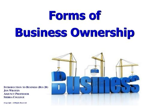 Different Types Of Business School Mba by Forms Of Business Ownership Intro To Business