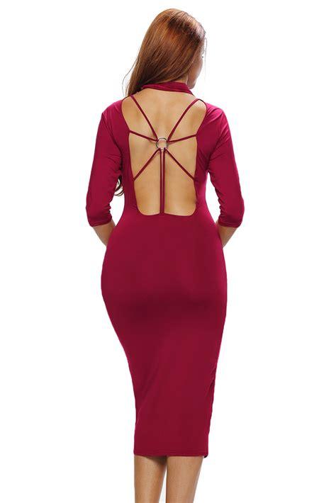 Mock Neck Sleeve Midi Dress burgundy bodycon mock neck o ring accent cut out half