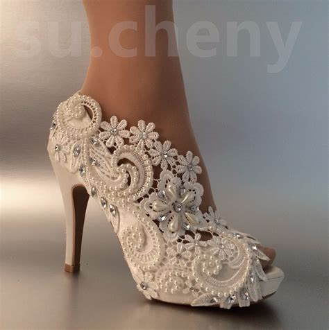 Wedding Shoes Size 5 by 3 Quot 4 Quot Heel Satin White Ivory Lace Pearls Open Toe Wedding
