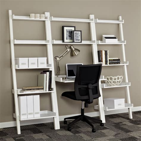 Ladder Desk And Bookcase White Linea Leaning Desk The Container Store