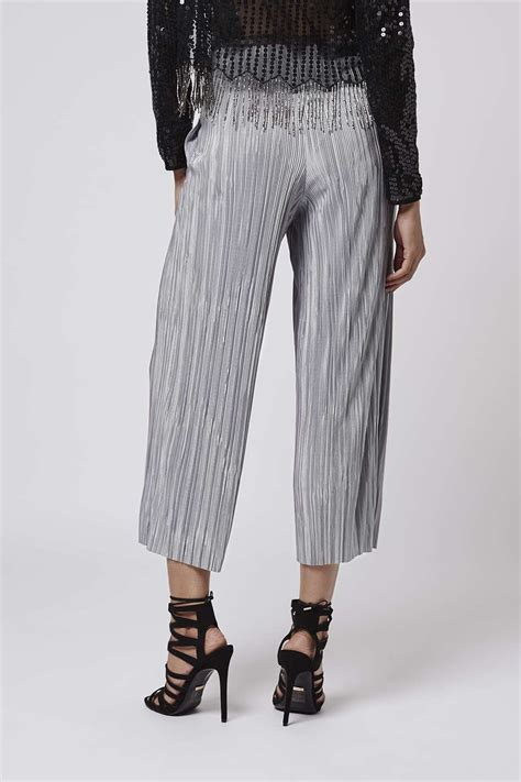 Topshops Flood Length Cropped Trouser by Lyst Topshop Pleated Awkward Length Trousers In Metallic