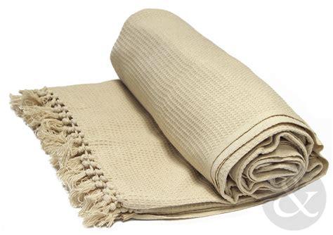 Soft 100 Cotton Honey Comb Throw With Tasselled Edge Sofa Throw Blanket