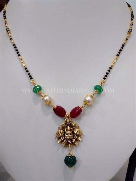 black bead necklace indian black bead neck with rubies emeralds south india jewels