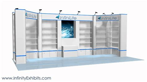 trade show display shelving 20ft multi 7 section shelf and graphics trade show display