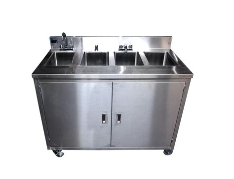 used portable 4 compartment porta sink ss4 all stainless steel 4 compartment portable