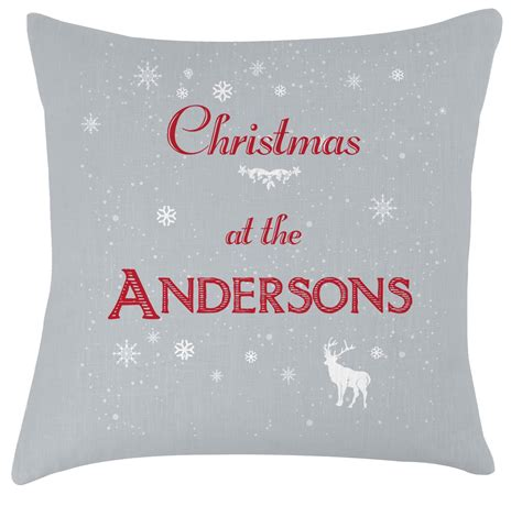 christmas festive cushion personalised with the family name
