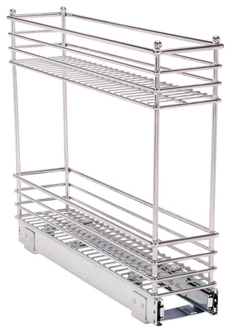 sliding cabinet organizers kitchen shop houzz glidez narrow 5 quot sliding organizer chrome