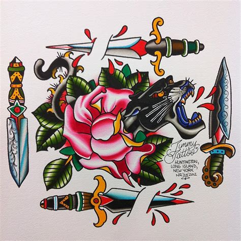 traditional roses and panther dagger tattoos real photo