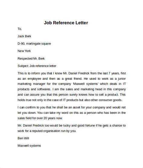 Reference Letter For Seeker Reference Letter 7 Free Sles Exles Formats