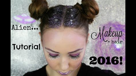 space girl alien makeup hair tutorial  youtube
