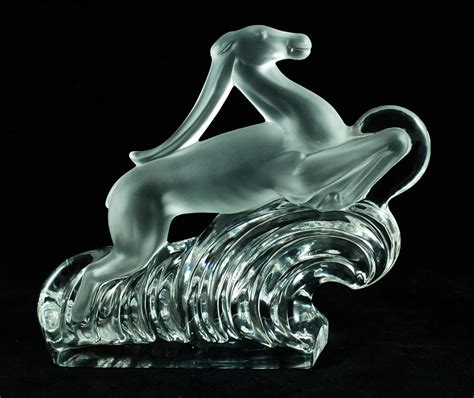 Steuben L by Steuben Glass Gazelle Bookends Polished And Matte Form