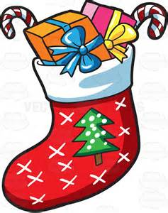 Easy Christmas Candy Crafts - a christmas sock with presents vector clip art cartoon