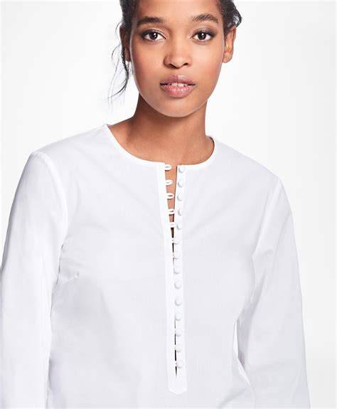 Blouse Sv 345845 White lyst brothers stretch cotton blend blouse in white