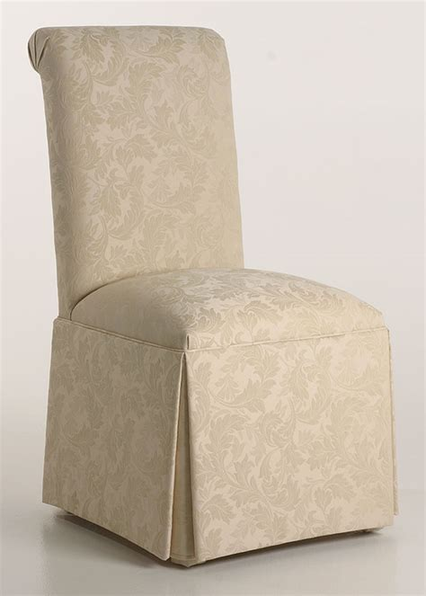 roll back parson chair slipcovers scroll back parson chair with kick pleat skirt