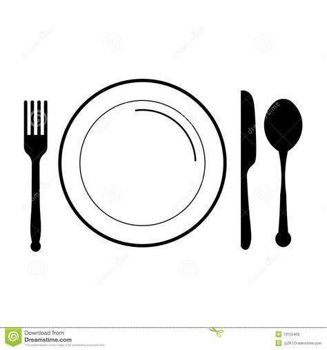 Plate Fork Knife Clip Art   Vector icon illustration of