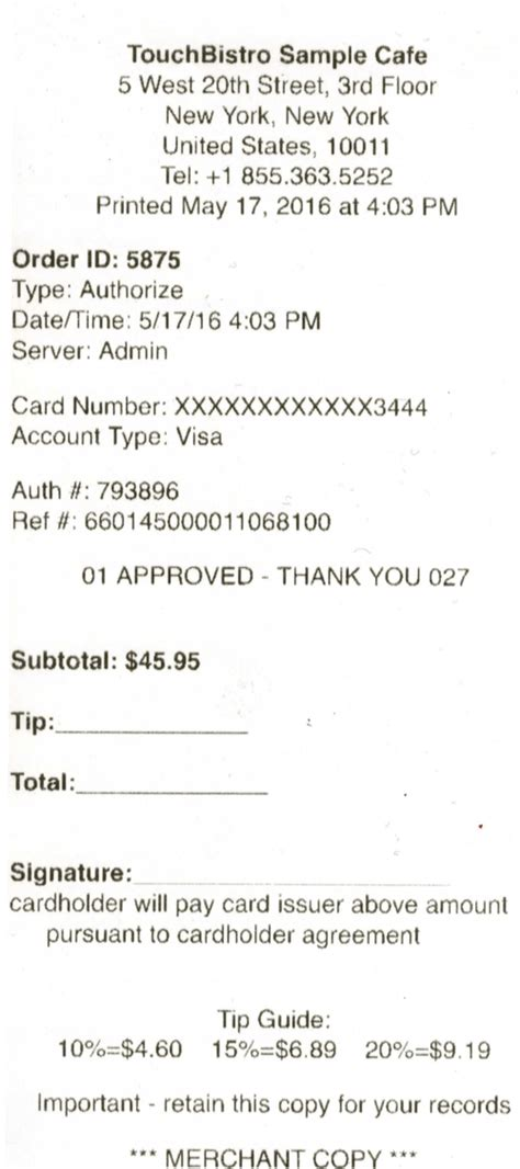 Credit Card Swipe Format Chapter 7 Payments And Bill Chit Customization Touchbistro