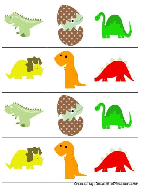 Concentration Card Template by Free For Dinosaur Matching Pairs Concentration