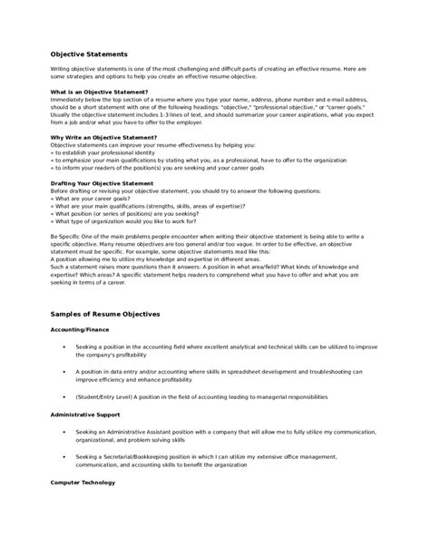 what does the objective on a resume mean gse bookbinder co