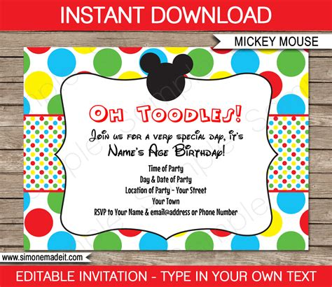 Mickey Mouse Party Invitations Template Birthday Party Birthday Invitation Template