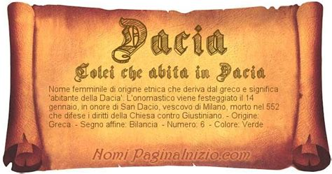 test d nomi significato nome dacia