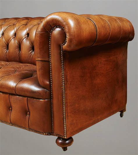 Leather Sofa Nailhead Tufted Leather Sofa With Nailhead Trim At 1stdibs