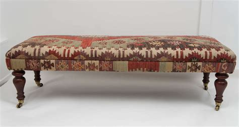 kilim bench custom ottoman bench upholstered with turkish kilim at 1stdibs