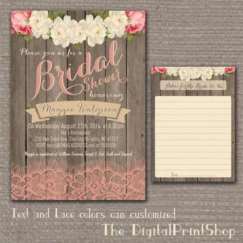 garden rustic baby lingerie bridal shower invite wood pink