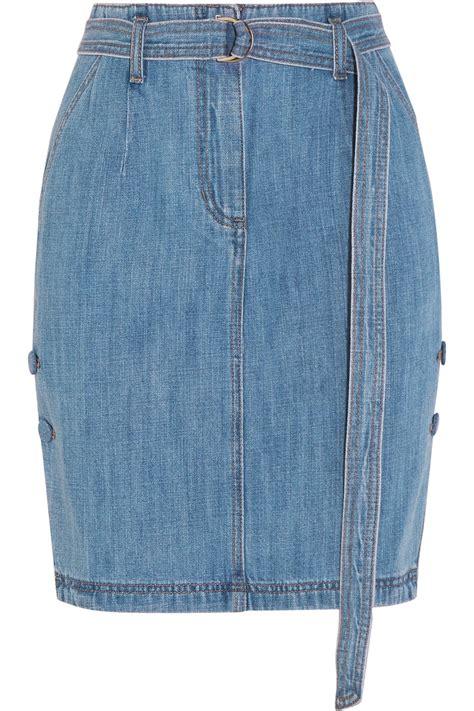 steve j yoni p belted denim skirt in blue mid denim lyst