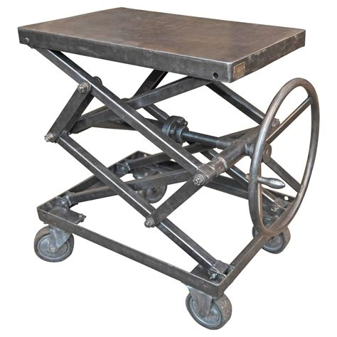 table on wheels industrial iron adjustable rising table on wheels at 1stdibs