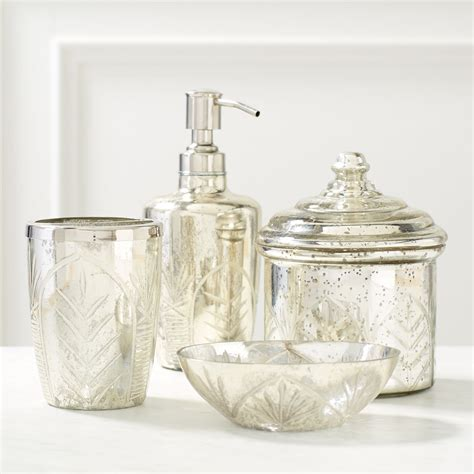 mercury glass bathroom accessories luxurious coastal bathroom update with pier 1 table and
