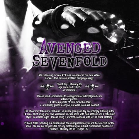 avenged sevenfold fan avenged sevenfold wants fans for upcoming shoot