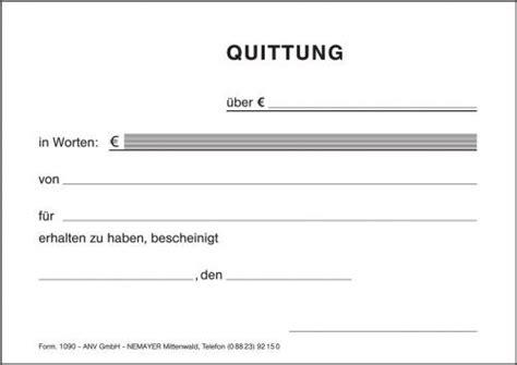 Muster Quittung Schweiz Quittung 1090 Din A6 Nemayer E K Ihr Medizinischer