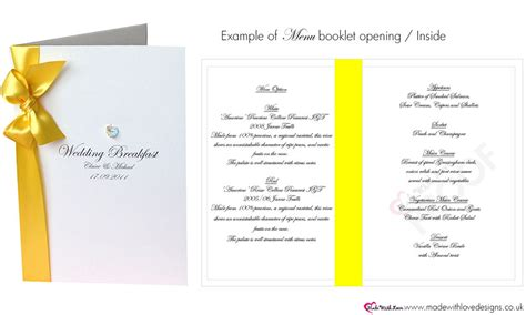 luxury wedding breakfast menus for wedding reception