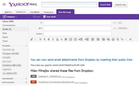 email yahoo directly send large files through yahoo mail using dropbox