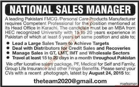 National Sales Managers by National Sales Managers Ads 16 August 2015 Paperpk