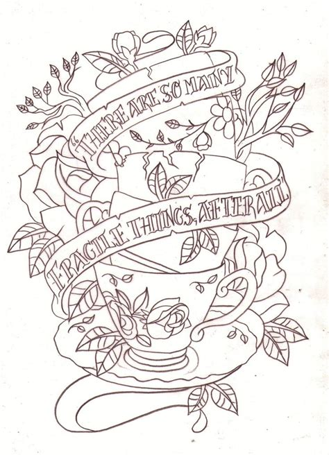 tattoo sketchbooks tea cup quote sketch by nevermore ink deviantart