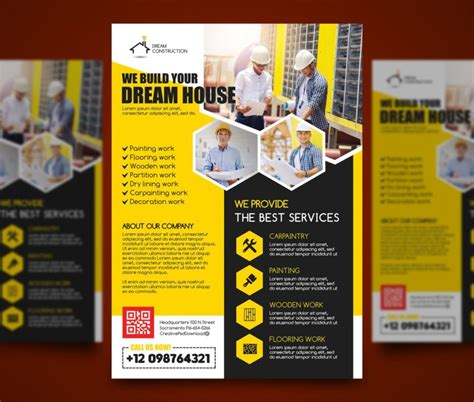 Construction Flyer Psd Bundle Freebie Free Construction Flyer Design Templates