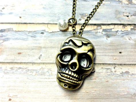 Handmade Skull Jewelry - handmade vintage skull pocket necklace with pearl