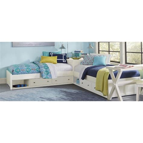 bed l ne kids pulse twin l shaped storage bed in white 33051n2s