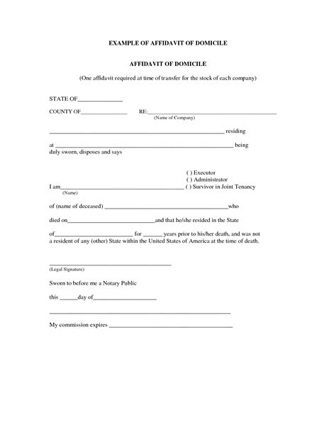 blank affidavit template brilliant sle of affidavit of domicile with blank
